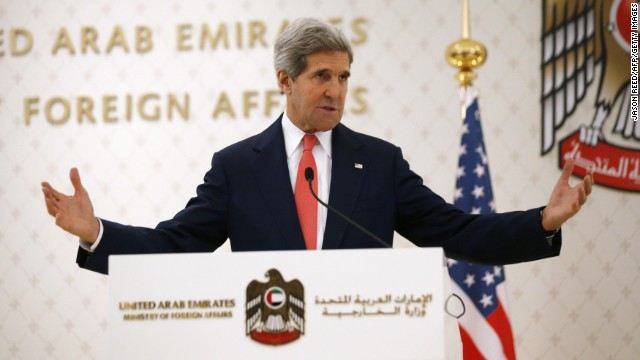 U.S. Secretary of State John Kerry speaks at the foreign ministry in Abu Dhabi Monday to brief the UAE on talks with Iran.