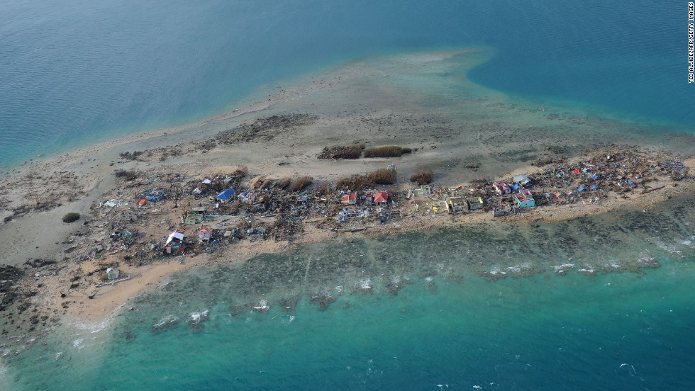 Buildings lie in ruins on Eastern Samar's Victory Island.