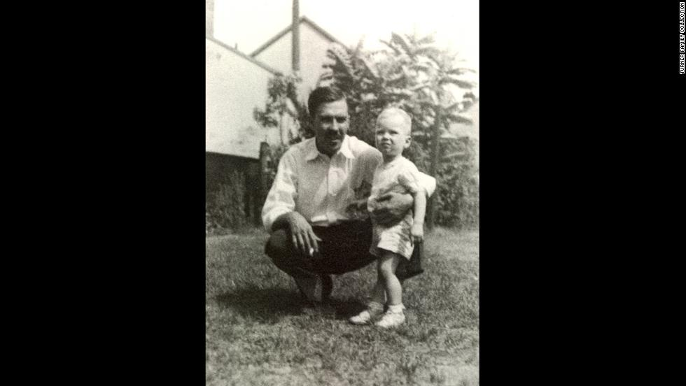 "Turner, seen here with his father at approximately 2 years old, was born to Florence and Robert Edward ""Ed"" Turner II. Turner's father ran a billboard advertising business."