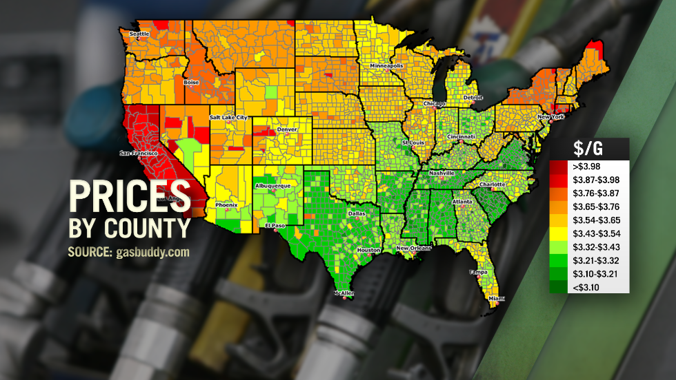 Hawaii has the nation's priciest gas at $4.05/gallon. Missouri has the cheapest at $2.81/gal.