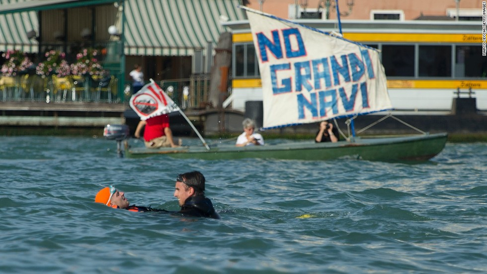 """No Grand Navi"" is the slogan used by the protestors which means ""No big ships."""
