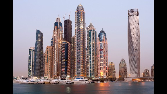 Completed in 2012, the Princess Tower in Dubai rises to an architectural height of 1,356 feet (413.4 meters) and is occupied to a height of 1,171 feet (356.9 meters).