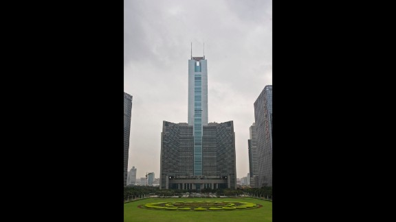 Completed in 1996, this tower in Guangzhou rises to an architectural height of 1,280 feet (390.2 meters) and is occupied to a height of 974 feet (296.9 meters).