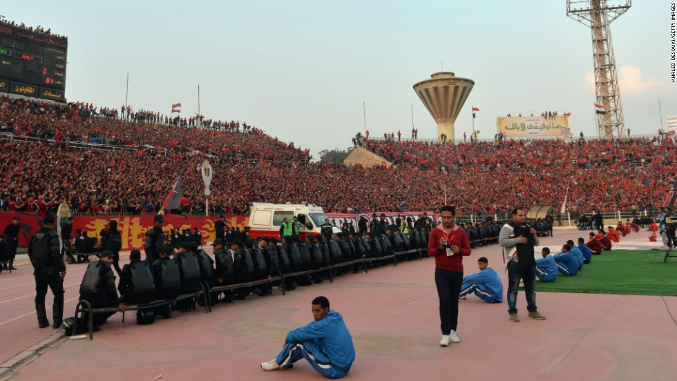 Egypt's security forces were out in number as Cairo hosted a major football match with fans in attendance for one of the few times since 74 fans died in a stadium disaster in February 2012.