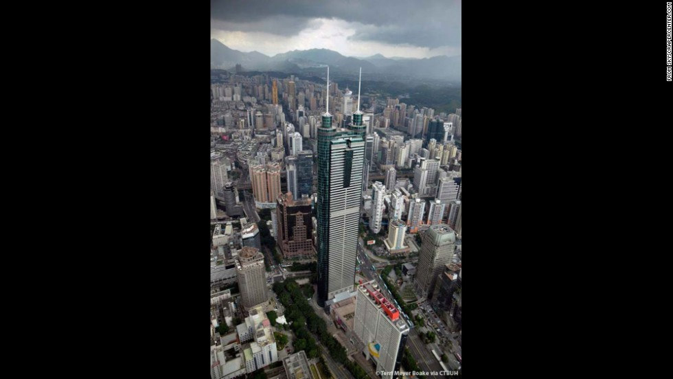 Completed in 1996, this tower in Shenzhen rises to an architectural height of 1,260 feet (384 meters) and is occupied to a height of 978 feet (298 meters).
