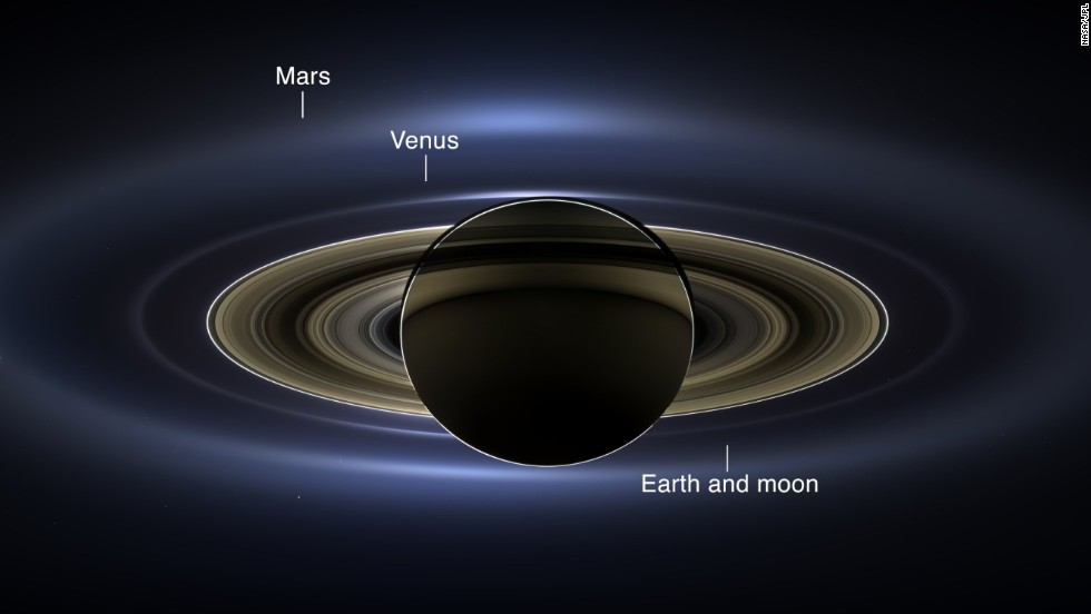 NASA's Cassini-Huygens spacecraft -- in service since 1997 and in orbit around the ringed giant since 2004 -- took pictures of Saturn and its rings during a solar eclipse on July 19. It acquired a panoramic mosaic of the Saturn system that allows scientists to see details in the rings and throughout the system as they are backlit by the sun. This mosaic marks the third time Earth has been imaged from the outer solar system. It is the second time it has been imaged by Cassini from Saturn's orbit. This annotated image shows Earth as a tiny dot.