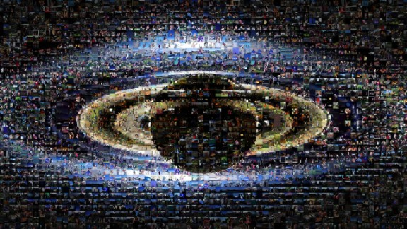 """The mosaic is part of Cassini's """"Wave at Saturn"""" campaign, where on July 19, people for the first time had advance notice that a spacecraft was taking their picture from planetary distances. NASA invited the public to celebrate by finding Saturn in their part of the sky, waving at the ringed planet and sharing pictures over the Internet."""