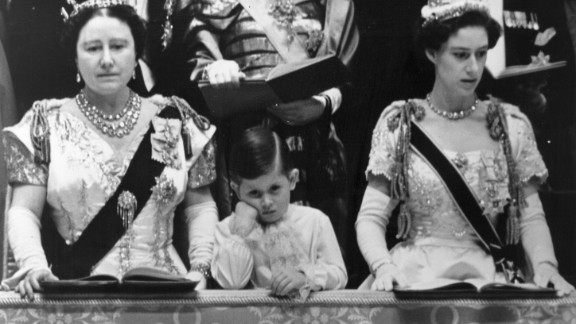 The Queen Mother, left, Charles and Princess Margaret Rose in the royal box at Westminster Abbey watching the coronation ceremony of his mother, now Queen Elizabeth II, in 1953. The prince was just three years old when his grandfather George VI died.