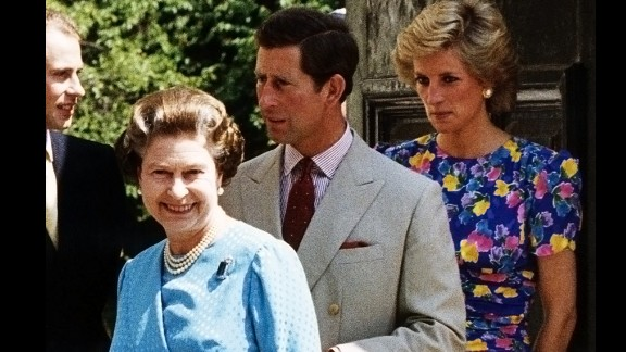 The Queen is followed by her sons, Prince Edward (left) and Prince Charles, with Diana close behind, outside the Clarence House In London in 1989. The estate is the former home of the Queen Mother, Charles