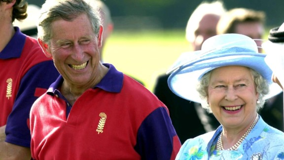 Charles and his mother share a laugh at the Smiths Lawn Polo Club in Windsor, Britain, in June 2004.