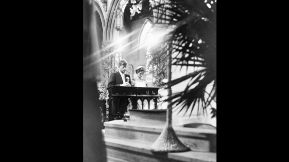 John Kennedy and Jacqueline Bouvier met in 1951 and after a brief engagement, they married in Rhode Island in the century-old church of St. Mary's on September 12, 1953.
