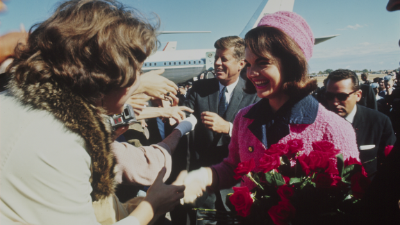 The Kennedys arrive at Love Field in Dallas on a trip to advance the upcoming 1964 campaign.