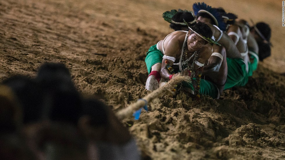 NOVEMBER 13 - CUIABA, BRAZIL: Gaviao Indians participate in a tug of war competition during the 12th International Games of Indigenous People. Forty-eight indigenous tribes will present their cultural rituals during the games, which run until November 16.