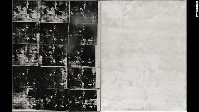 "Andy Warhol's ""Silver Car Crash (Double Disaster)"" measures 8 feet by 13 feet."