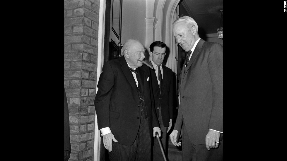 David Bruce, the American ambassador to Britain, takes leave of Sir Winston Churchill at Hyde Park Gate, London, on April 10, 1963, after presenting the former British prime minister with a proclamation naming him the first honorary citizen of the United States, a title given to him the day before on April 9, 1963.