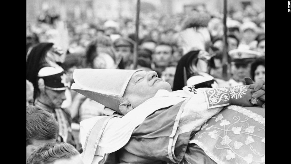 The late Pope John XXIII's body is borne across St. Peter's Square on June 4, 1963, to St. Peter's Basilica from the papal apartment in the Apostolic Palace. He died the day before from a malignant stomach tumor.
