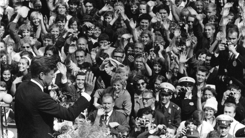 "U.S. President John F. Kennedy delivers his famous ""Ich bin ein Berliner"" (""I am a Berliner"") speech to a massive crowd in West Berlin on June 26, 1963."