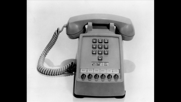 The first push-button telephone was made available to AT&T customers on November 18, 1963. The phone had extension buttons at the bottom for office use.