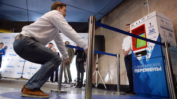 At a Moscow subway stop, riders can perform 30 squats for a free ride.