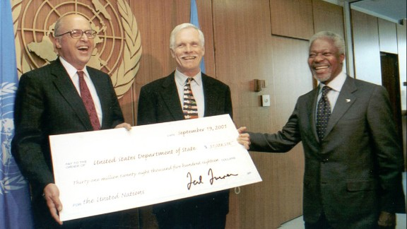 Turner gave the U.S. government $31 million to pay off a debt to the United Nations in 2001. Years earlier, Turner had donated $1 billion to the United Nations.