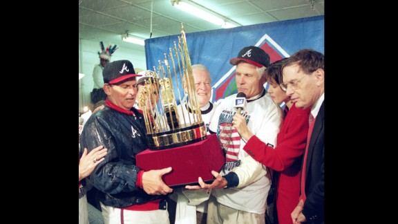 Turner talks to a reporter after the Braves won the World Series in 1995.