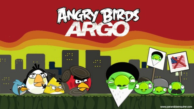 Following Argo's Oscar win, The Pan-Arabia Enquirer joked about a new Angry Birds edition.