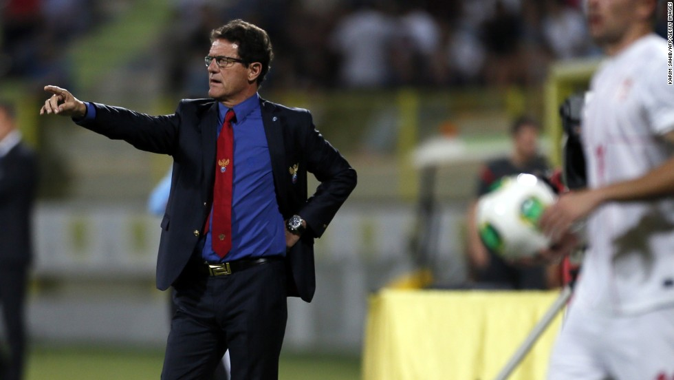 Russia manager Fabio Capello was busy giving orders against Serbia. Russia, which finished ahead of Portugal in qualifying, played to a 1-1 draw in the friendly in the United Arab Emirates.