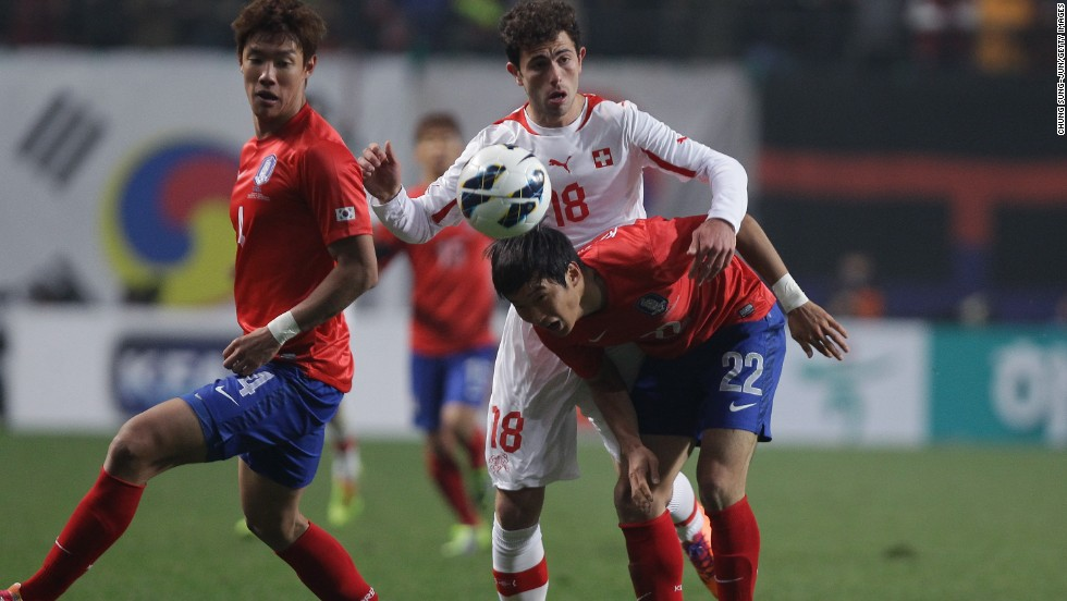 In an encounter between two teams who have qualified for the World Cup, South Korea rallied from a goal down to beat Switzerland 2-1 in Seoul. It was Switzerland's first loss since May 2012.