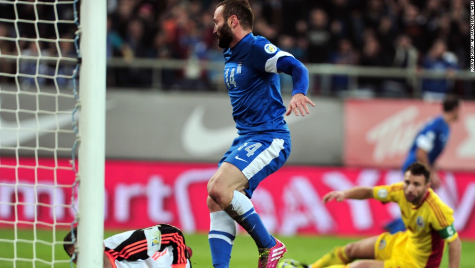 Dimitris Salpingidis scored one of the goals for Greece, which takes a commanding 3-1 lead to Romania in the fourth European playoff tie.