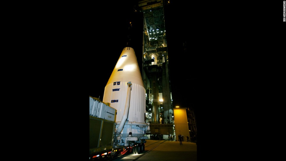 A transporter moves MAVEN to the launchpad November 8. Three other active spacecrafts currently orbit Mars: Mars Odyssey (launched in 2001), Mars Express (launched by the European Space Agency in 2003), and the Mars Reconnaissance Orbiter (launched in 2005).