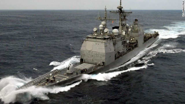 The USS Chancellorsville was testing combat weapons system off the coast of Southern California when the accident occurred.