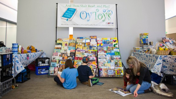 A book fair at Congregation Or Hadash attracts several patrons on a recent Sunday.
