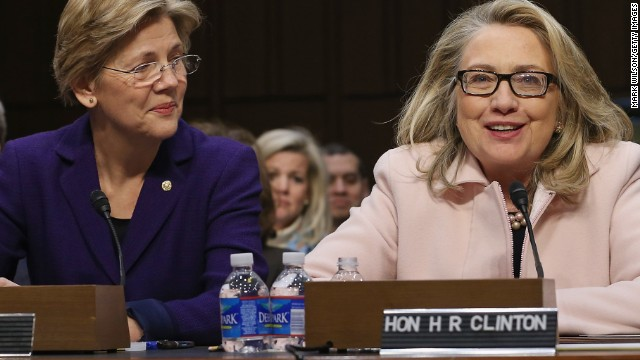 Future primary rivals? Sen. Elizabeth Warren of Massachusetts, left, and former U.S. Secretary of State Hillary Clinton.