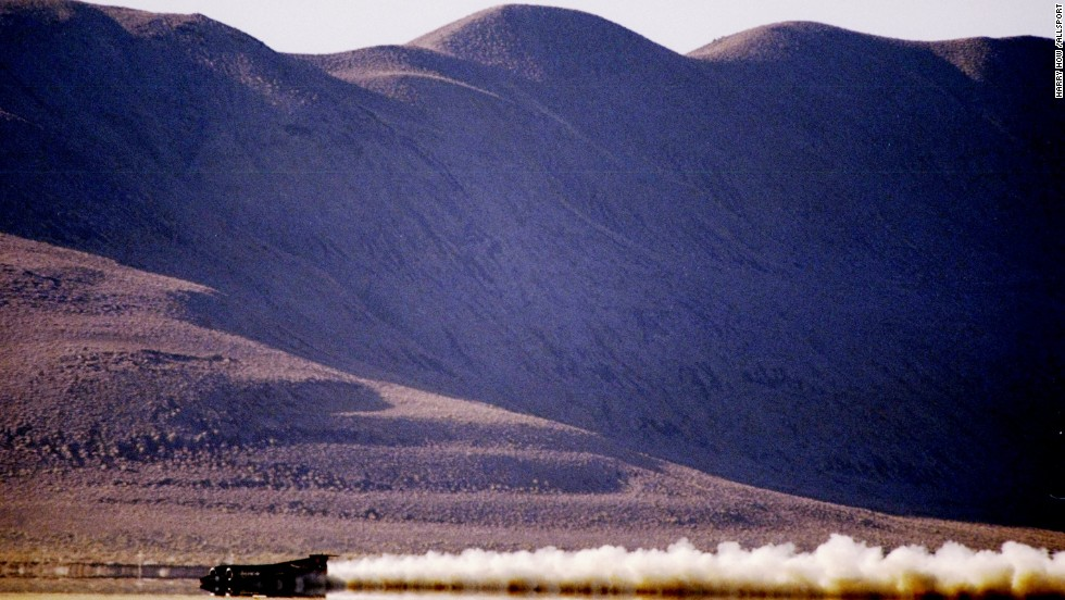 3 Oct 1997: General view of the Thrust SSC Car in action during the Supersonic World Land Speed Record Challenge at Black Rock Desert in Gerlach, Nevada.