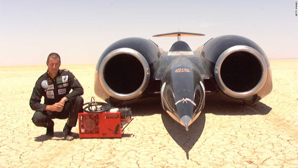 The current world record is held by this car, the Thrust SSC, which obtained it in 1997.