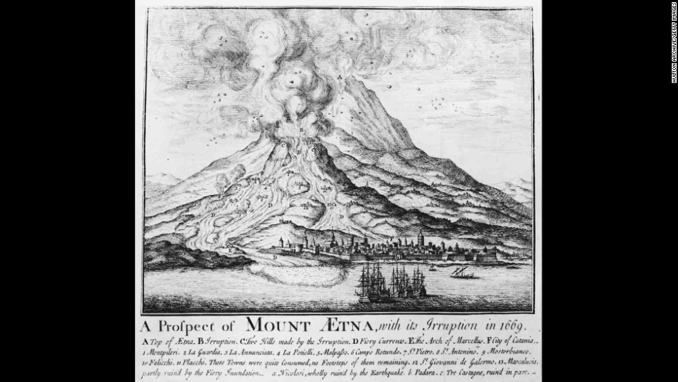 An illustration shows an Etna eruption in 1669.