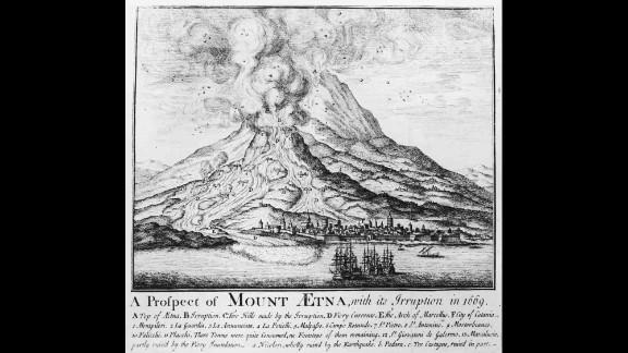 An illustration shows an Etna eruption in 1669.