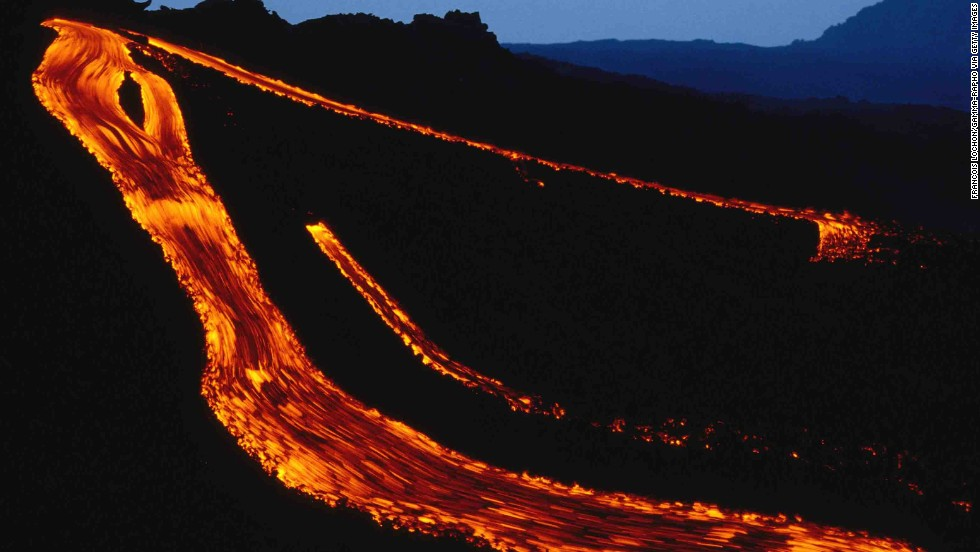 Lava flows down Etna in 1993.