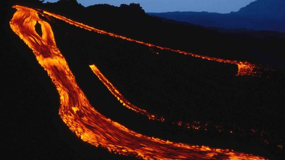 Lava flows down Etna in 1993.