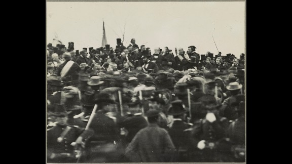 A crowd gathers to hear President Abraham Lincoln deliver the Gettysburg Address on November 19, 1863.