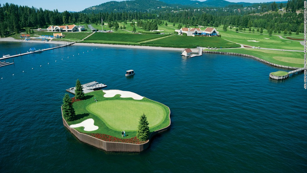 "<strong>14th hole at Coeur d'Alene Resort Golf Course, Idaho. </strong>The par-three hole at the Idaho course includes the world's only floating, moveable green, according to the resort. The 15,000-square-foot green in Lake Coeur d'Alene sits on 104 blocks of expanded polystyrene encased in concrete. The green is tethered using a network of underwater steel cables which can be moved to decrease or extend the length of the hole from 110-210 yards. Players take a ""Putter"" ferry to the green.       <br />"