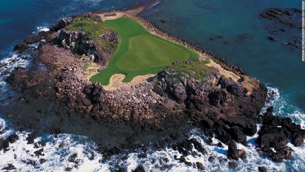 "<strong>Hole 3B at the Pacifico Golf Course, Punta Mita, Mexico. </strong>There are island greens and then there is Hole 3B at the Jack Nicklaus-designed course on the Pacific Ocean coast. Dubbed the ""Tail in the Whale,"" the green is situated on a rocky peninsula which is only accessible at low tide. The 199-yard par three is the world's only golf hole with a natural island green, according to course owners, Four Seasons Hotels and Resorts. <br />"