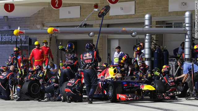 Red Bull's pit crew hard at work during Sunday's U.S. Grand Prix in Austin, Texas on Sunday.