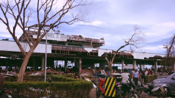 """Photo of Tacloban's airport days after the typhoon ripped through it. """"There was destruction as far as the eye could see,"""" said CNN's  Armie Jarin-Bennett."""