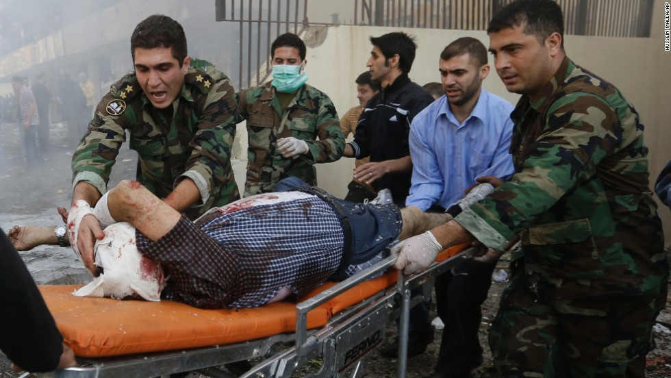 Lebanese soldiers help an injured man in Beirut on November 19.