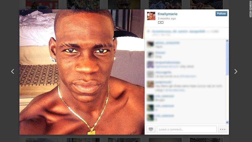 "Mario Balotelli is a footballer who has developed a huge following on social media for his on-field skill and off-field antics. The AC Milan striker's Instagram account features photos of him with his pet pig, named ""super pig"" as well as this surprisingly serene self portrait."