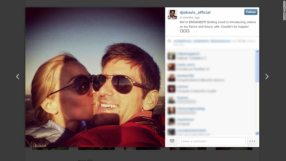 Not to be outdone by his golf and skiing counterparts, six-time grand slam winning tennis star Novak Djokovic uploaded this picture of him and his fiancee Jelena Ristic to his Instagram account.