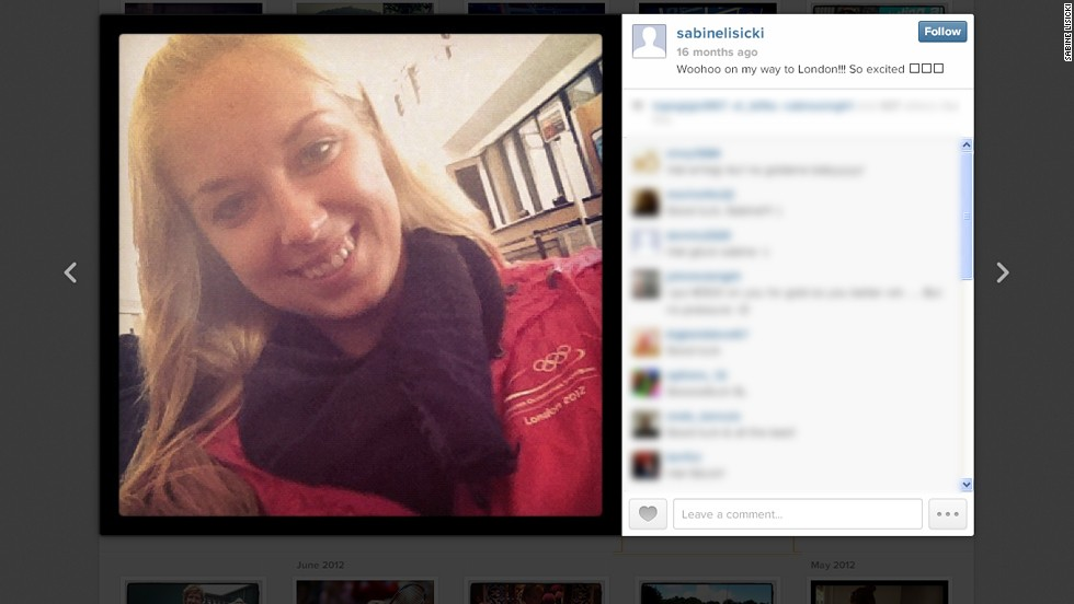 Here is a more traditional selfie from Sabine Lisicki. The German tennis ace snapped this on her way to the London 2012 Olympic Games.