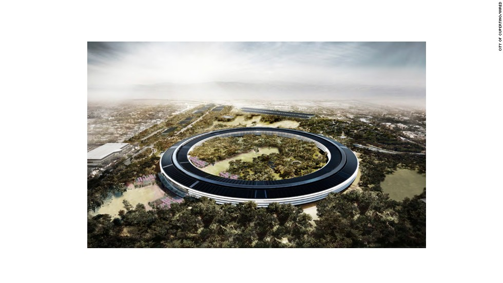 Apple is planning an expansion of its corporate headquarters on a 176-acre plot in Cupertino, California -- a site that was once home to HP and Compaq. This rendering shows the spaceship-like main building, which has 2.8 million square feet and room for 13,000 employees.