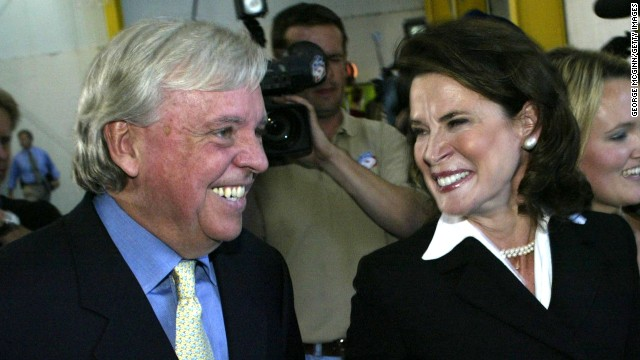 Anders Ebbeson is seen with his wife Katherine Harris are seen on January 16, 2004 as they announce that Harris would run for the Florida senate.